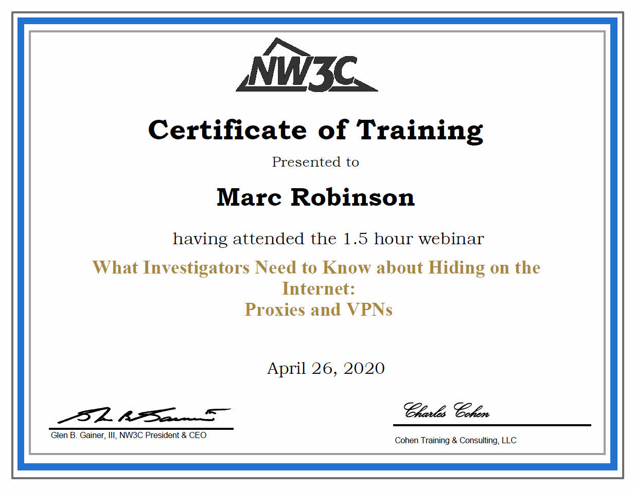 NW3c Training Certificate on Proxies and VPNs  for Marc Robinson