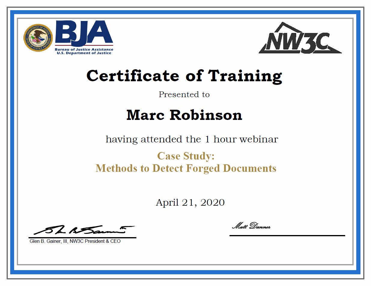 US Department of Justice Training Certificate in Methods to Detect Forged Documents for Marc Robinson