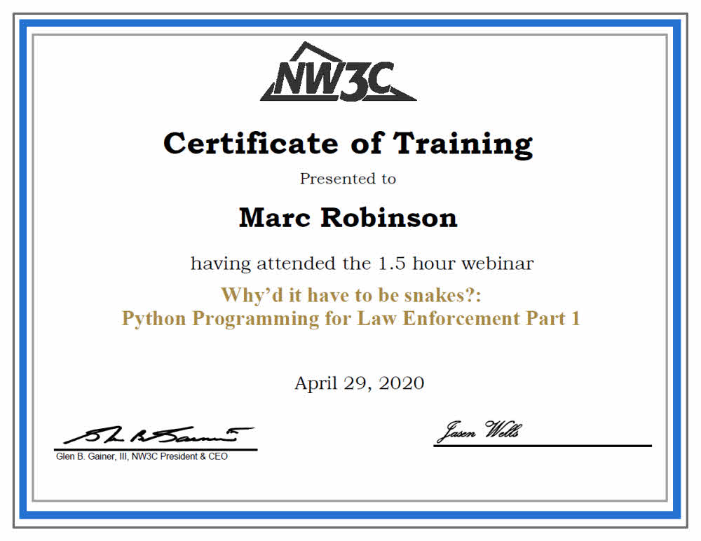 Continuing Education Certificate in Python Programming Part 1 for Marc Robinson