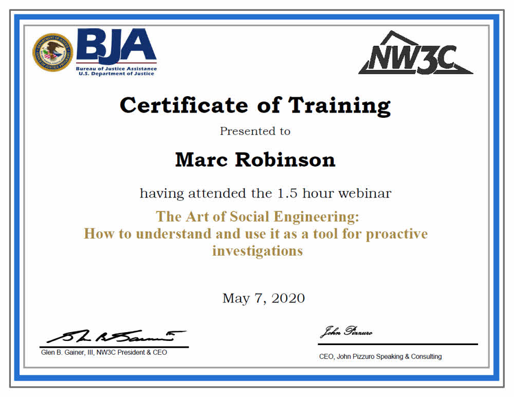 DOJ Training - The Art of Social Engineering - Course Certificate for Marc Robinson