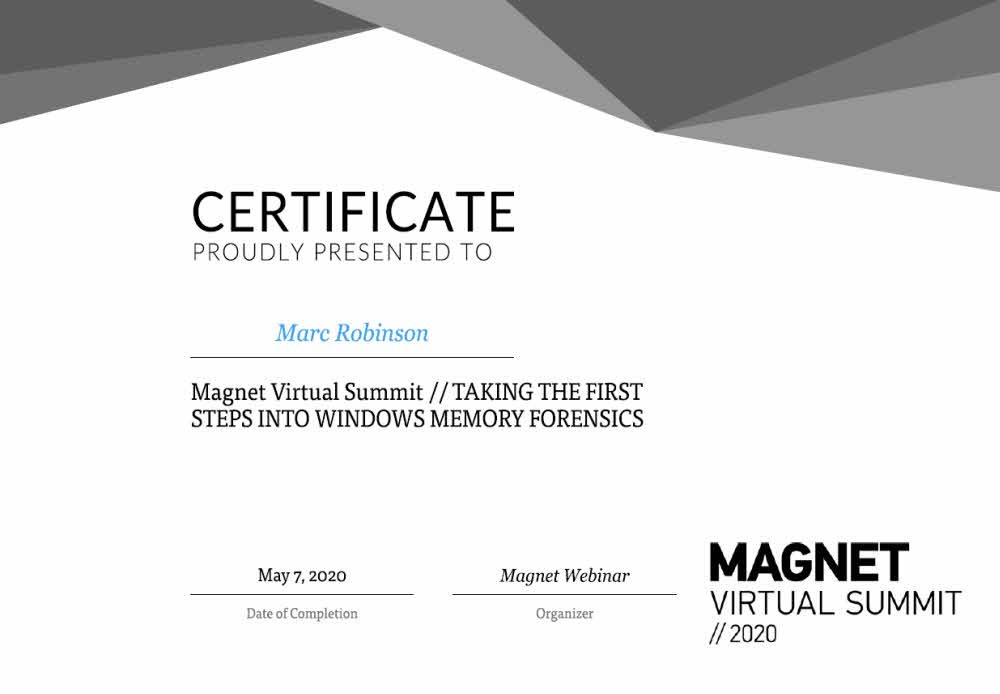 Magnet Forensics Windows Memory Forensics Certificate for Marc Robinson