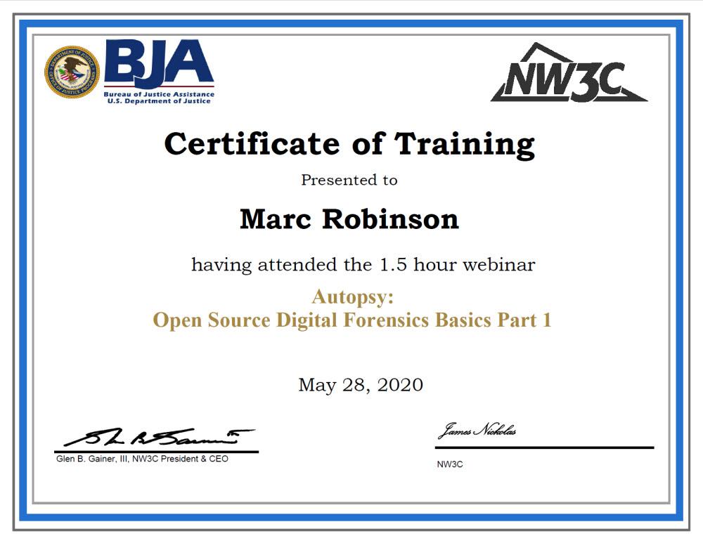 US DOJ Training Autopsy Digital Forensics Part 1 Course Certificate for Marc Robinson