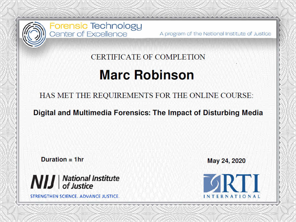 Digital and Multimedia Forensics Certificate for Marc Robinson AVFA EET