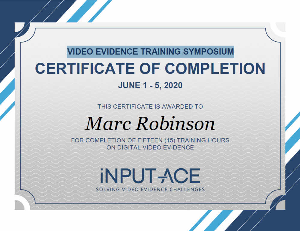 Video Evidence Training Symposium Course Certificate for Marc Robinson AVFA EET
