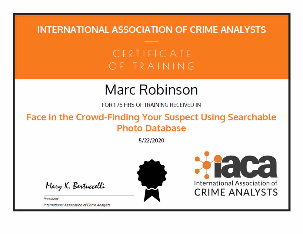 Using Searchable Photo Database IACA Certificate of Training for Marc Robinson AVFA EET