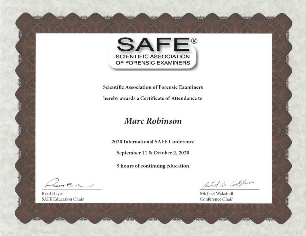 Scientific Association of Forensic Examiners 2020 International Conference Certificate for Marc Robinson AVFA