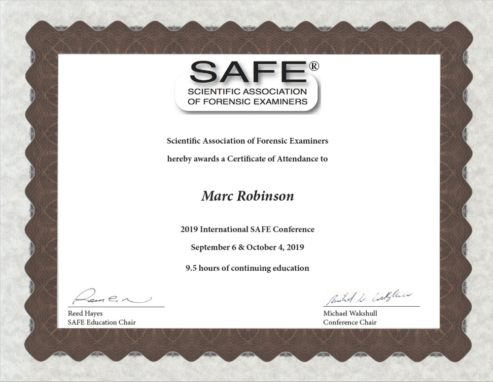 SAFE 2019 International Conference Certificate for Marc Robinson AVFA