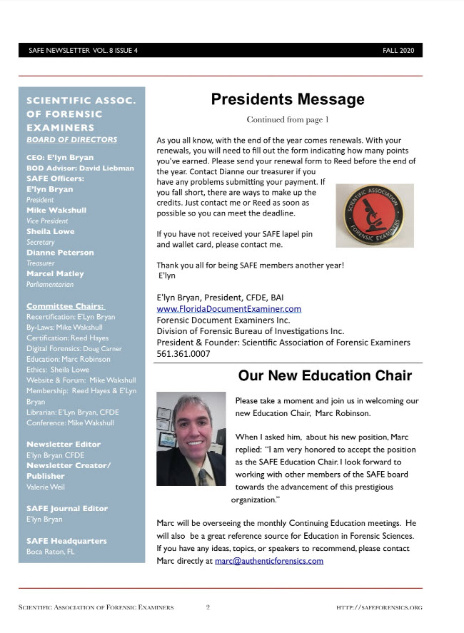 Marc Robinson Education Chair - Scientific Association of Forensic Examiners