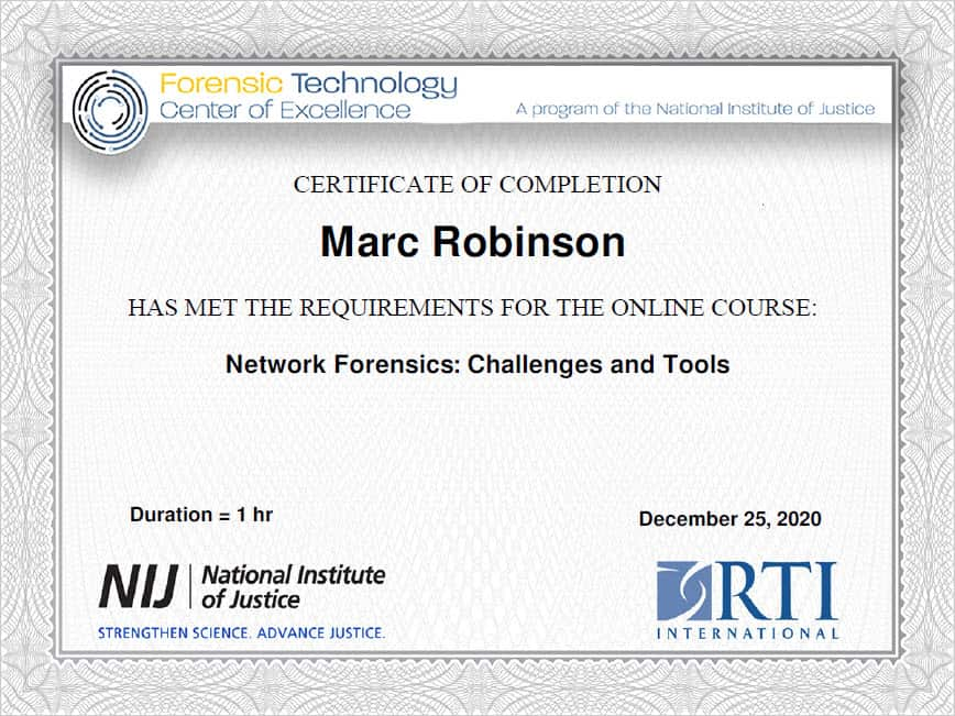 Magnet Forensics Windows Memory Analysis Certificate for Marc Robinson