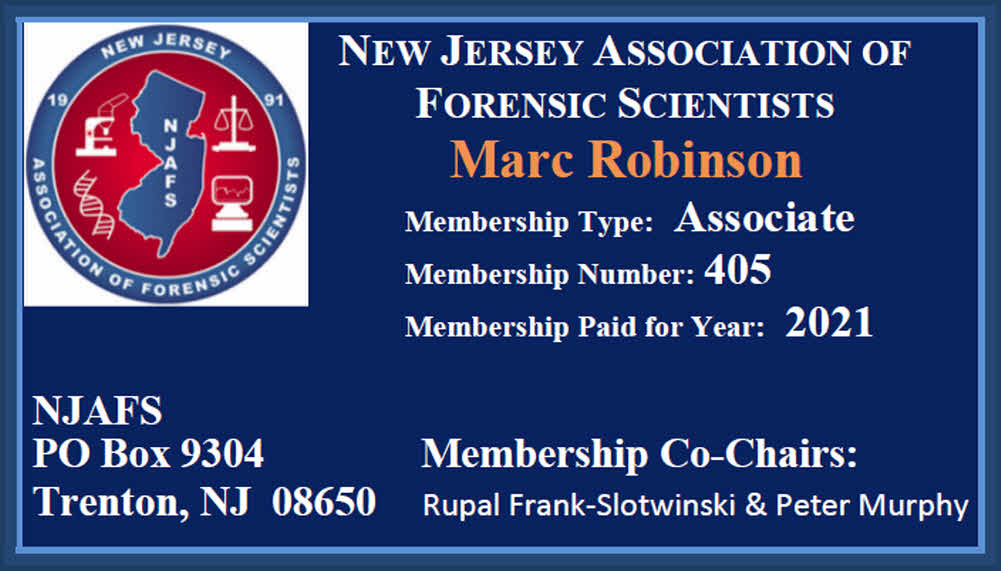 New Jersey Association of Forensic Scientist Membership Card for Marc Robinson