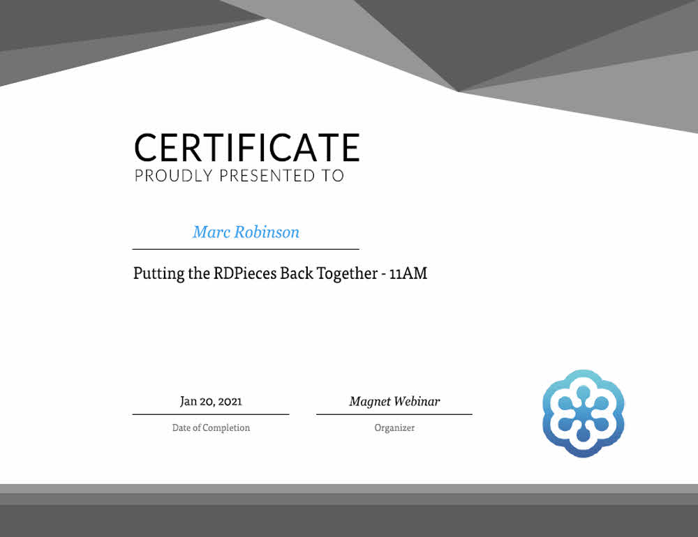 Magnet Forensics - Putting the RD Pieces Back Together Certificate for Marc Robinson