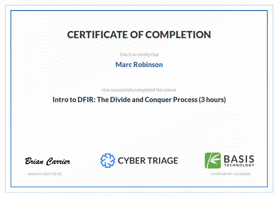 Digital Forensics Incident Response Certificate for Marc Robinson