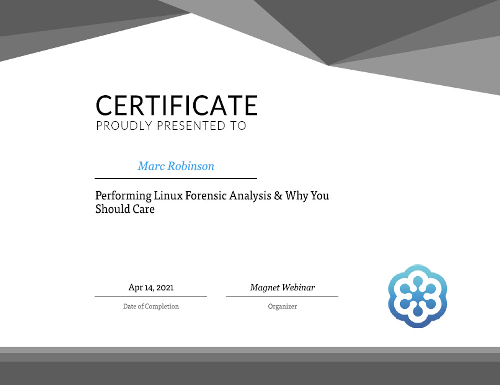 Linux Forensic Analysis Training Certificate for Marc Robinson