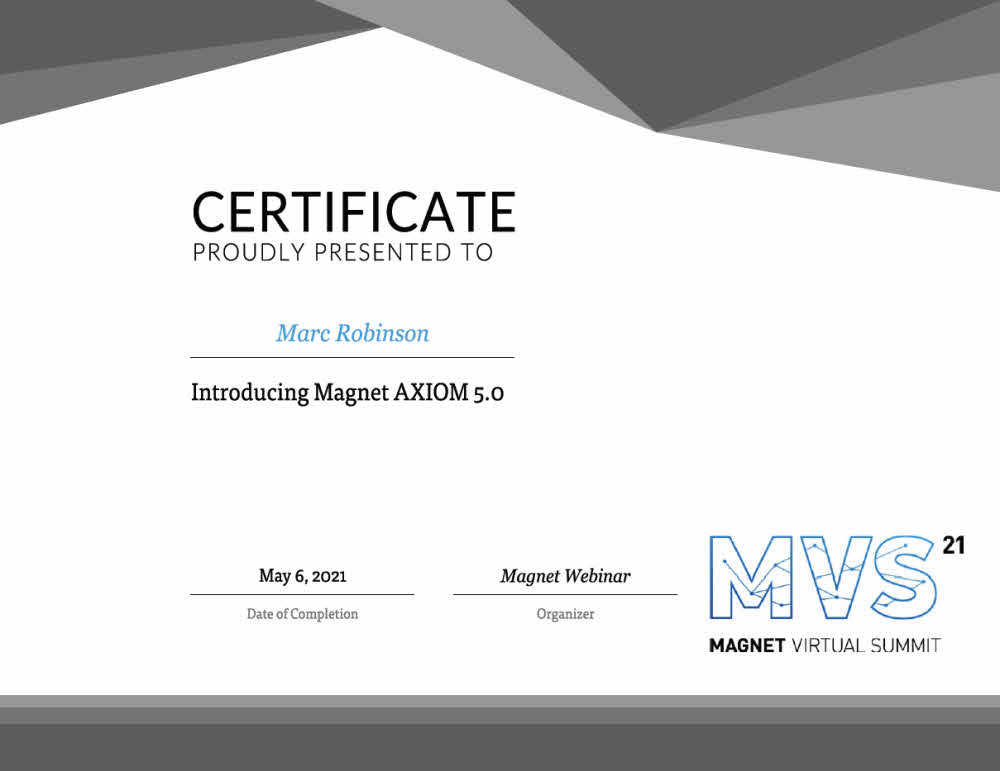 Magnet AXIOM 5.0 Training Certificate for Marc Robinson