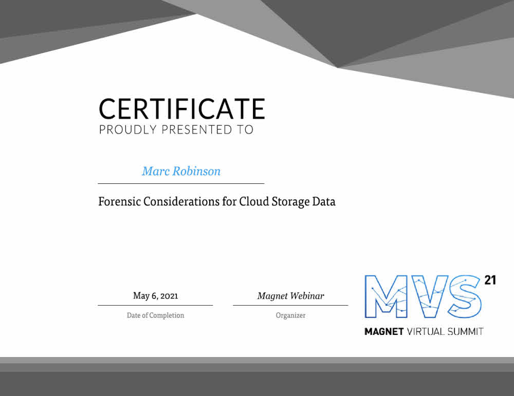 Forensic Considerations for Cloud Storage Training Certificate for Marc Robinson