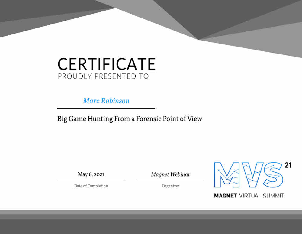 Forensic Big Game Hunting Certificate for Marc Robinson