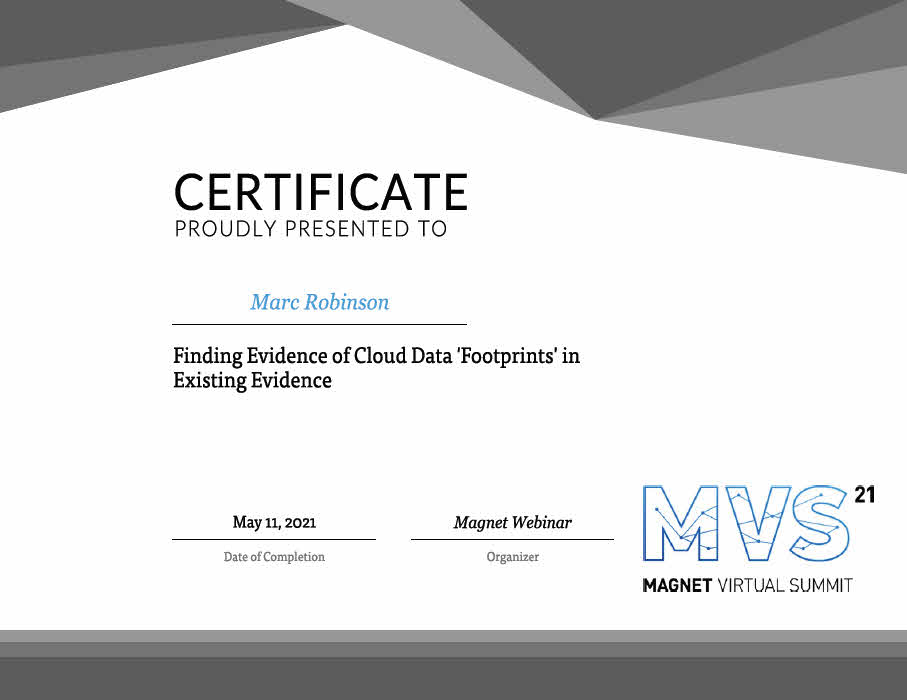 Evidence of Cloud Data Footprints Certificate for Marc Robinson