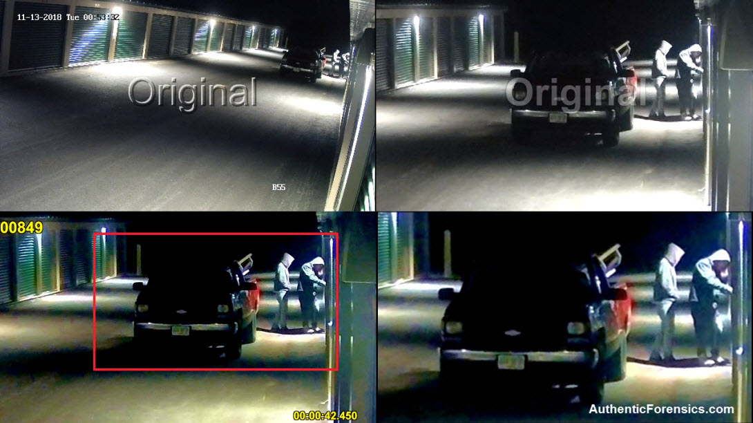 Forensic enhancement of a video frame in matrix view format.