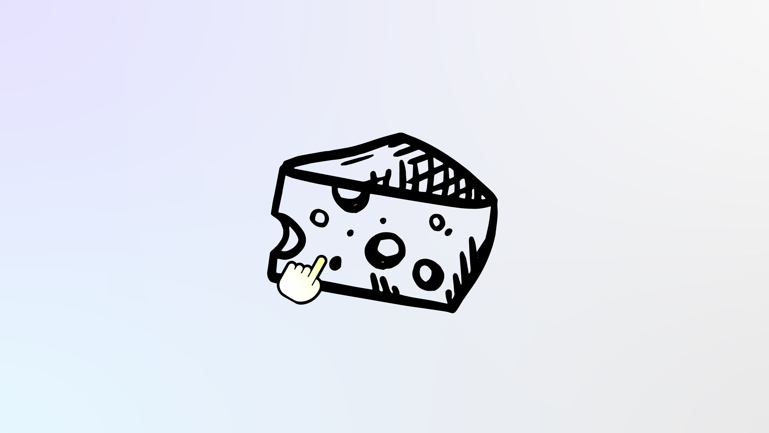 Illustration of cheese and hand