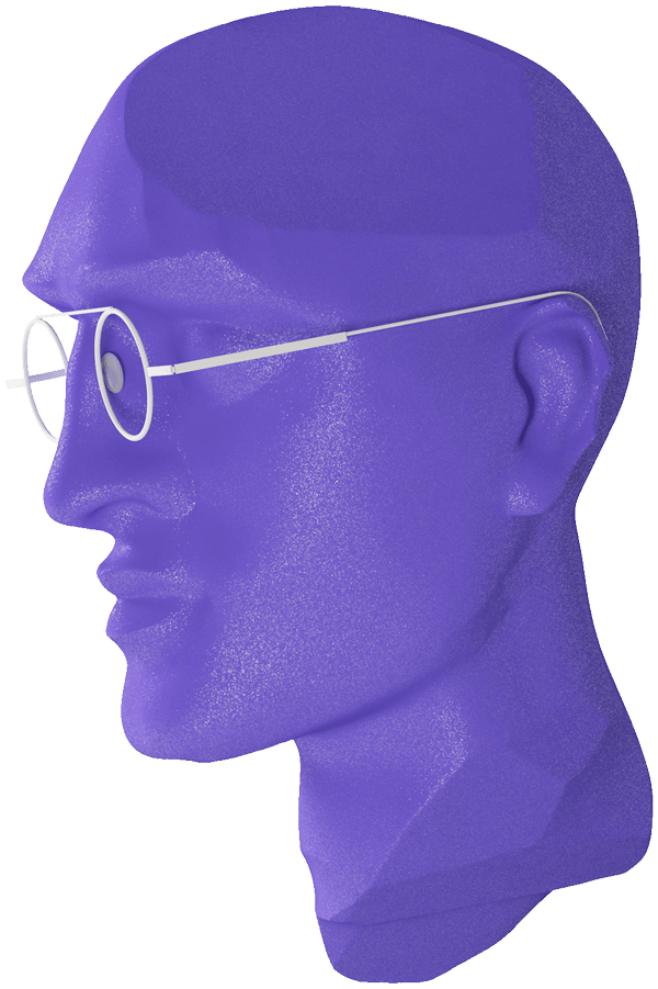 Skeuomorphic 3D model of a man's head