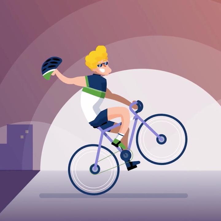 Thumbnail Team Cyclis - man zit op fiets alsof het een steigerend paard is en zwaait met zijn fietshelm
