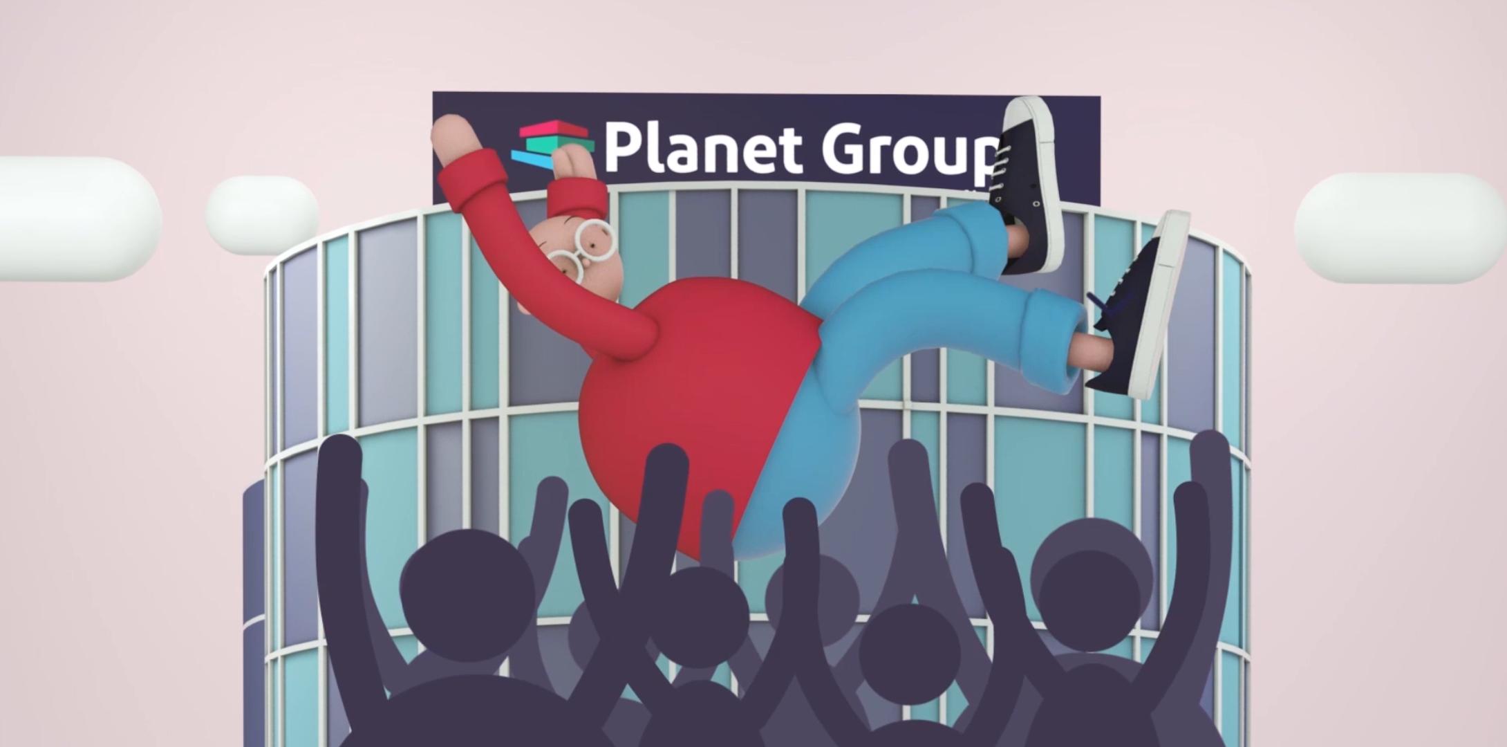 Thumbnail Planet Group 3D - mascotte van Planet Group  wordt op handen gedragen voor het Planet Business Center gebouw
