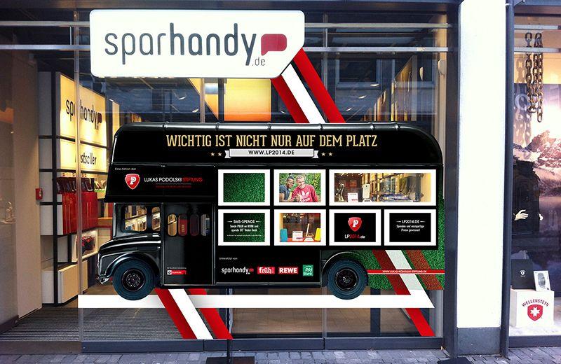 Lukas Podolski Stiftung - Bus - Fensterbeklebung für die Aktion LP2014 am Sparhandy-Store