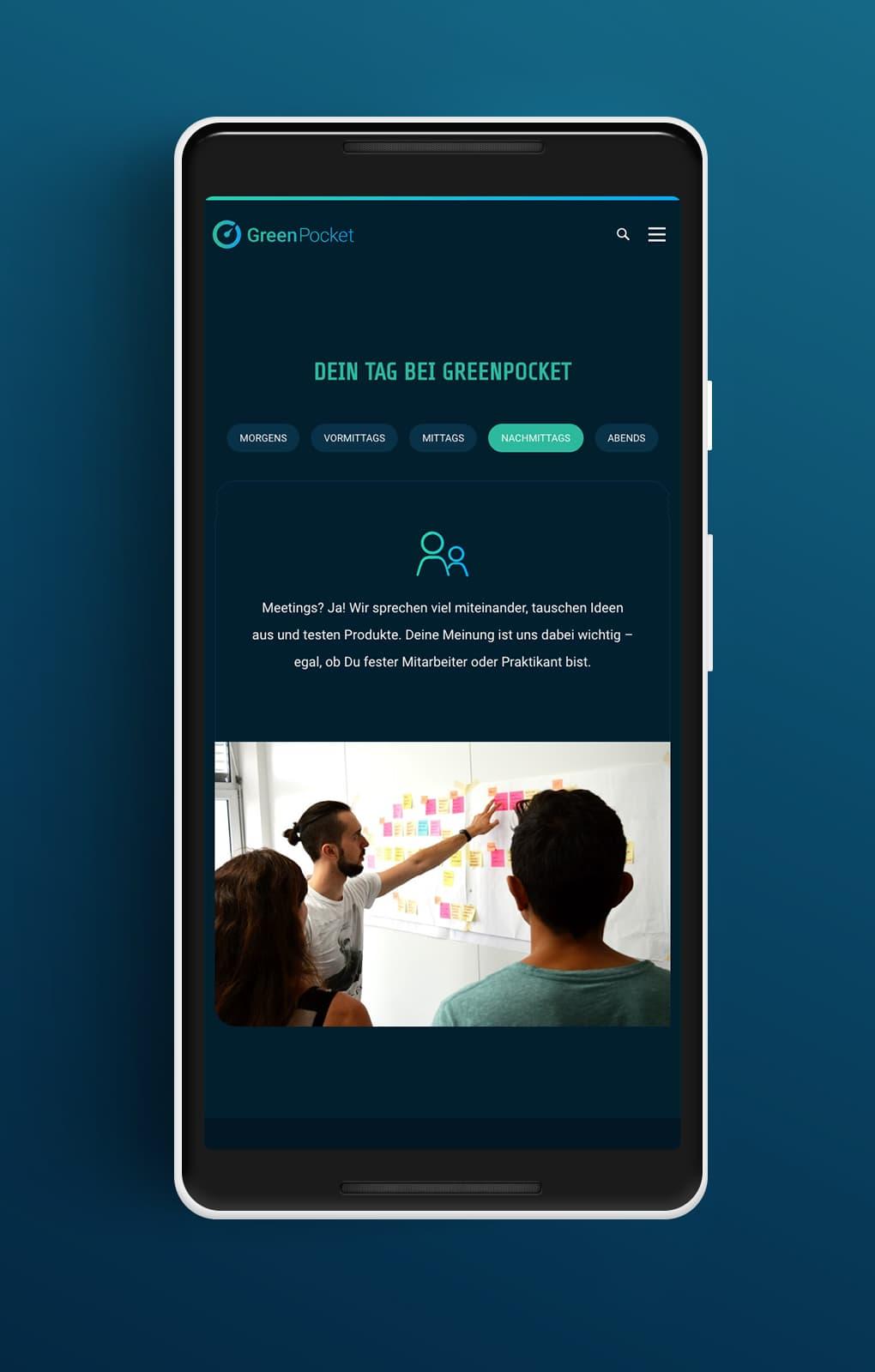 Website Karriereseite Mobile - GreenPocket