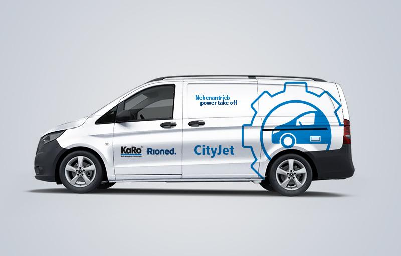 Fahrzeugbeklebung CityJet Nebenantrieb