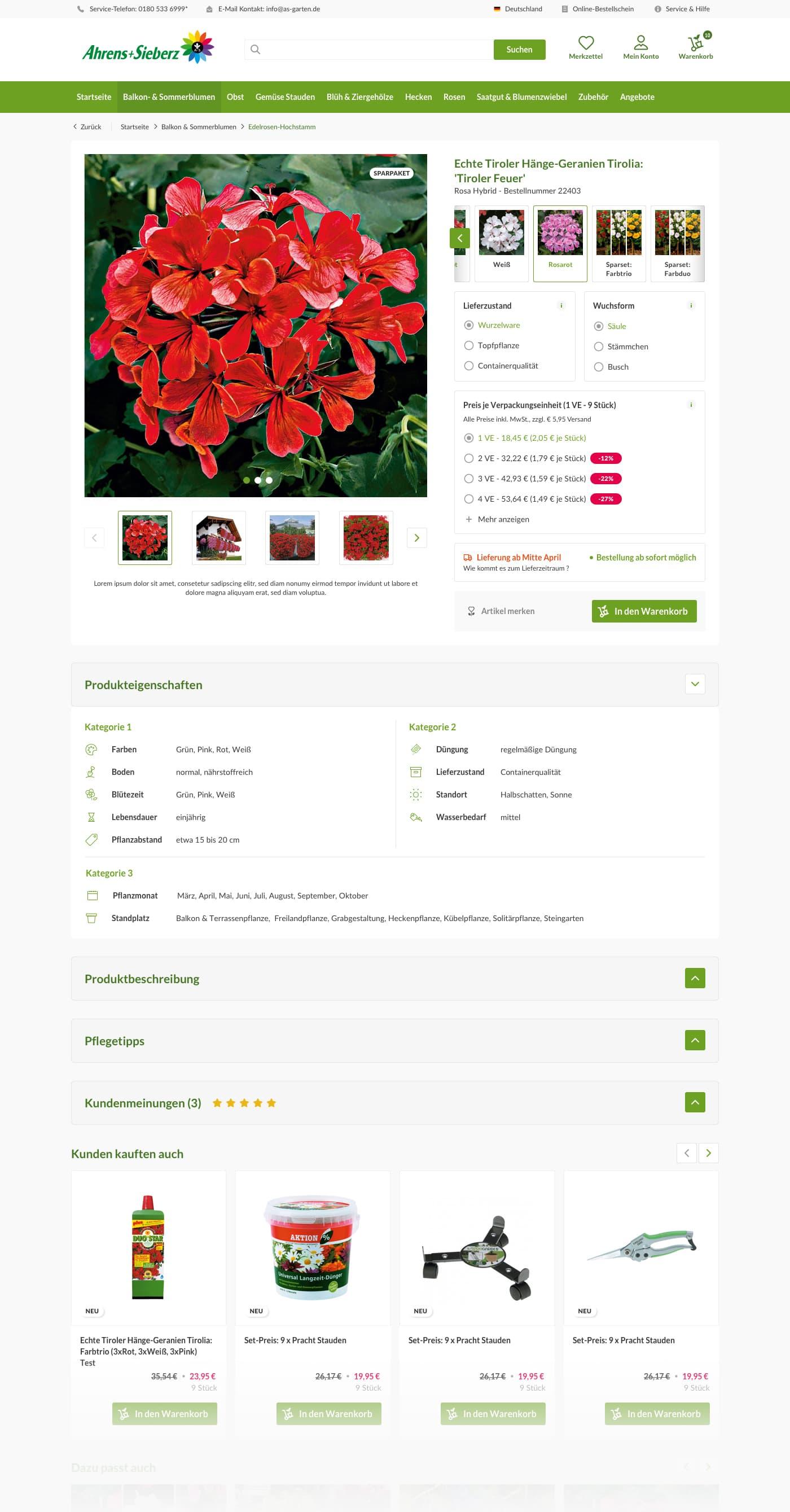 Produktdetailseite Desktop