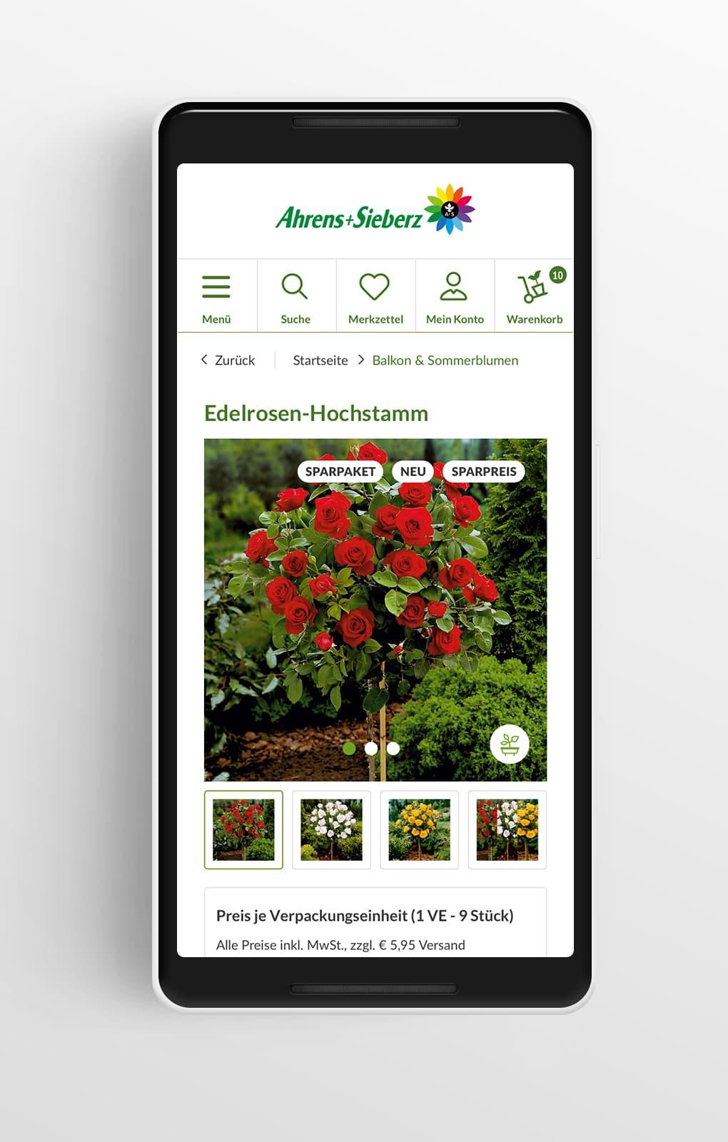Produktdetailseite Mobile