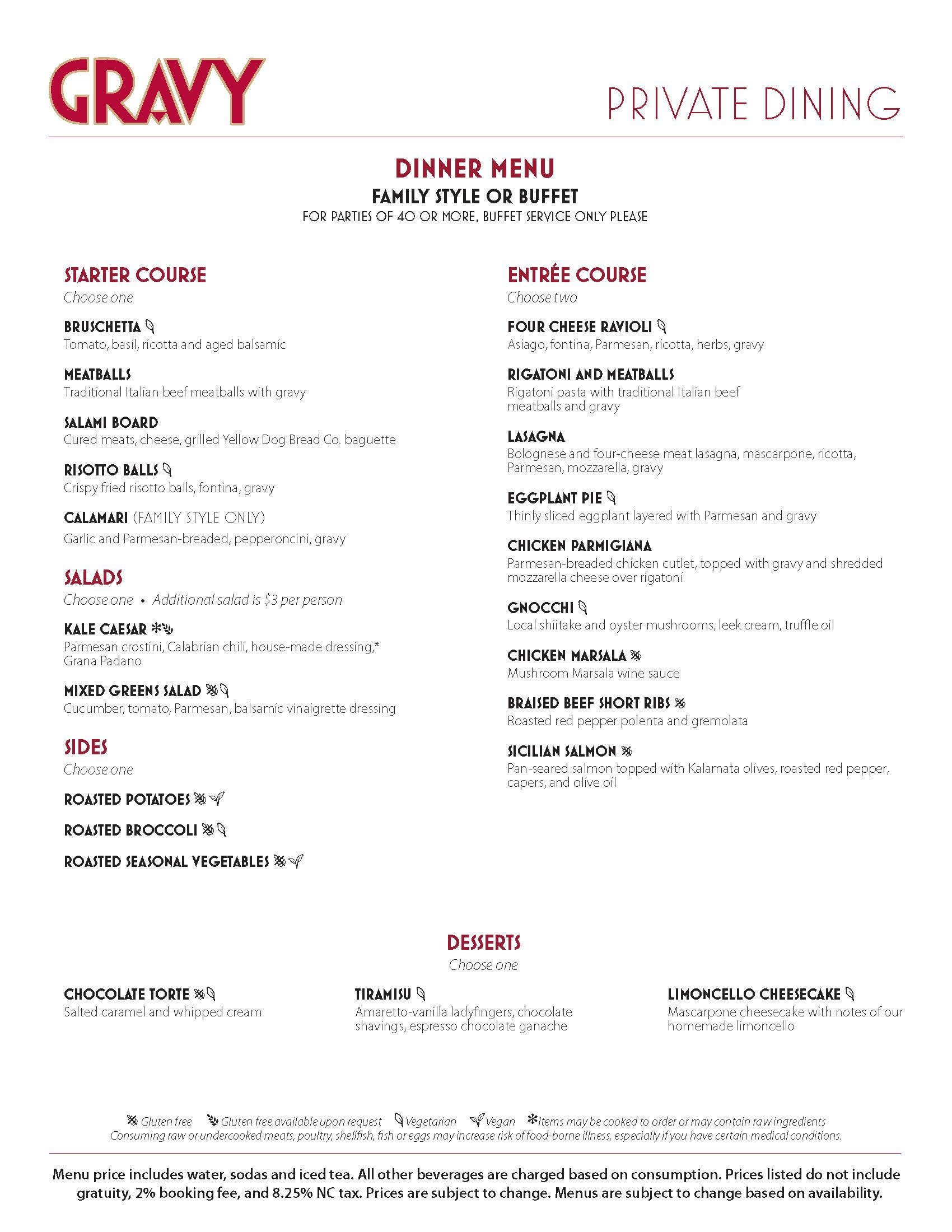 gravy dinner menu