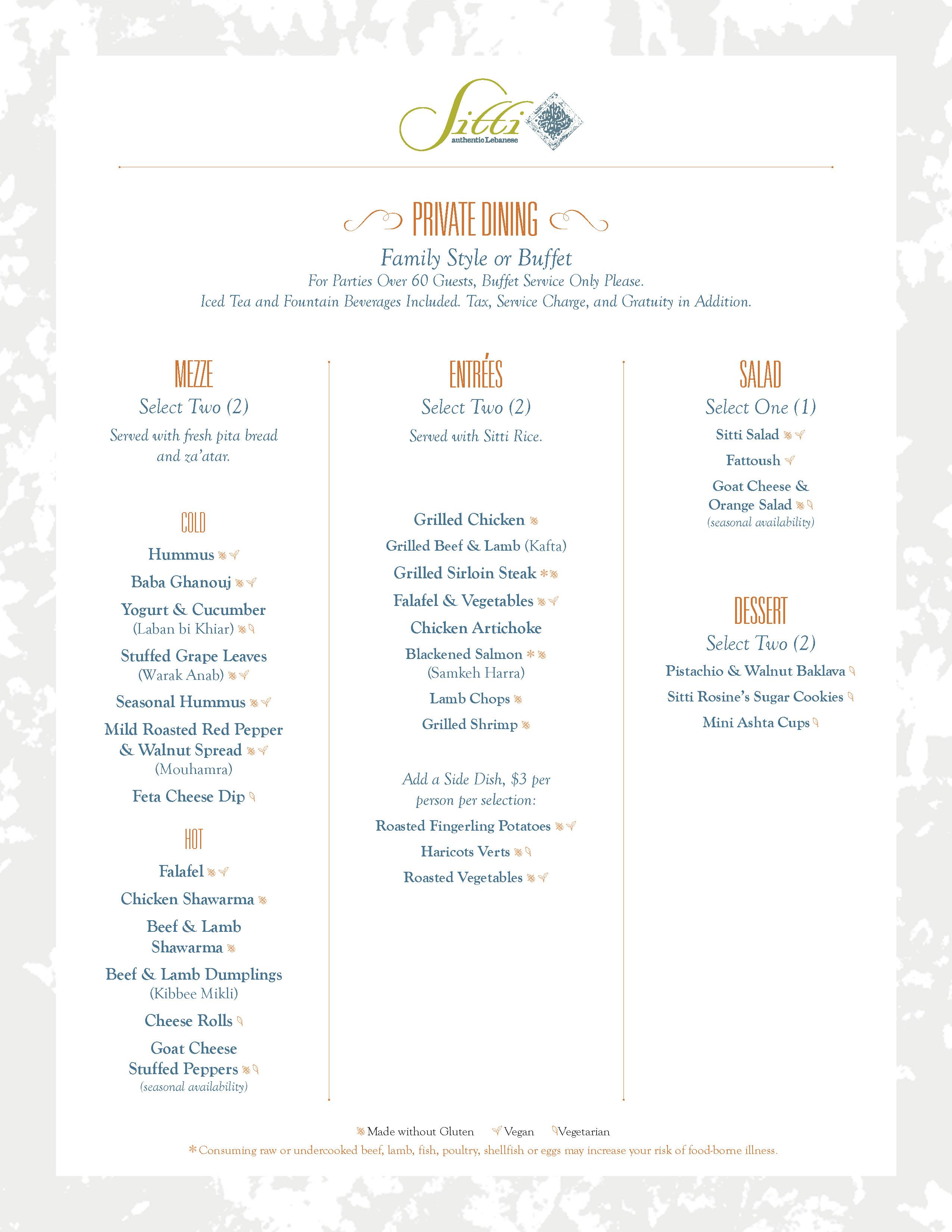 sitti dinner menu