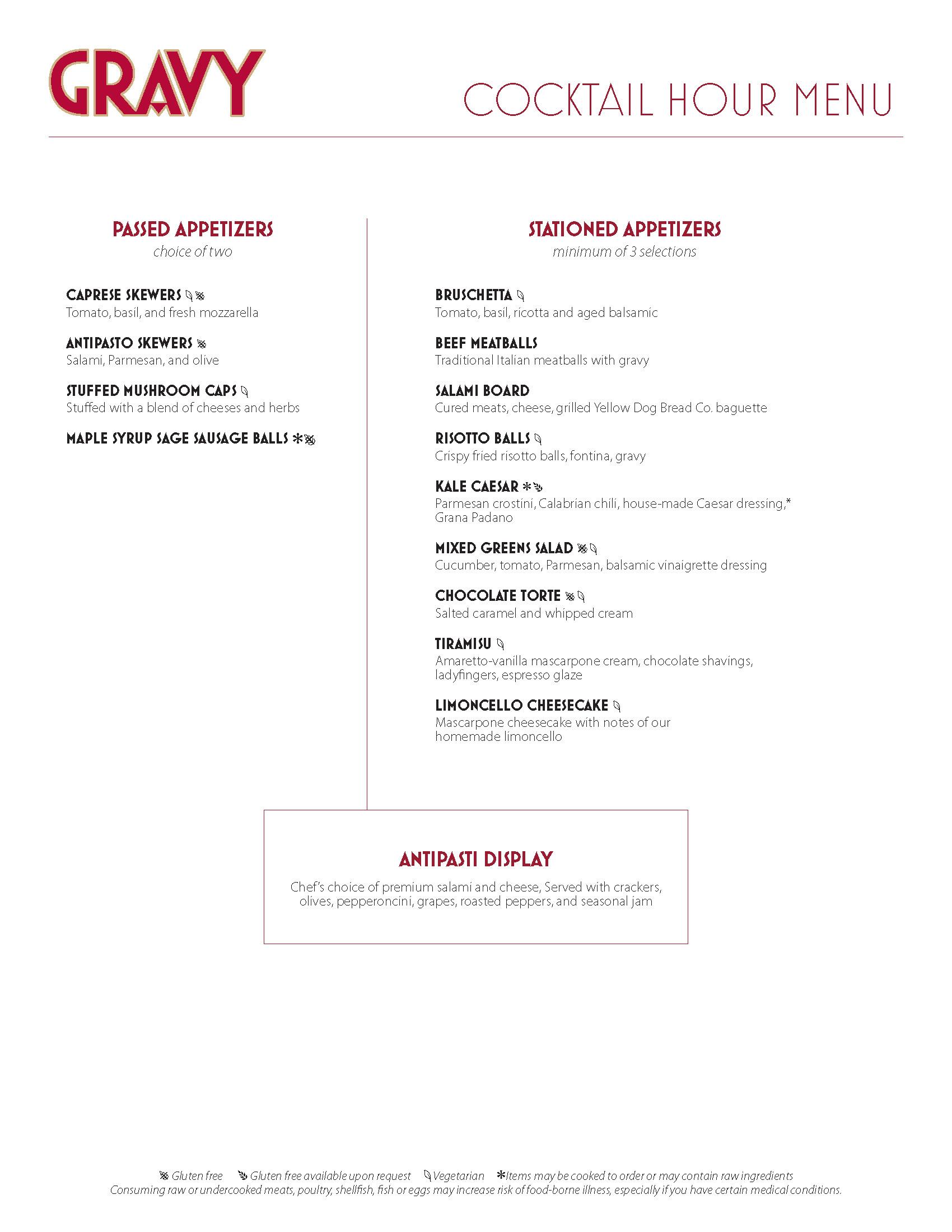 Gravy Hor d'oeuvres menu