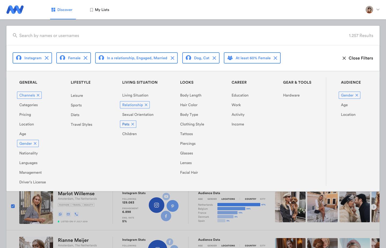 Uitgebreide influencer database filters