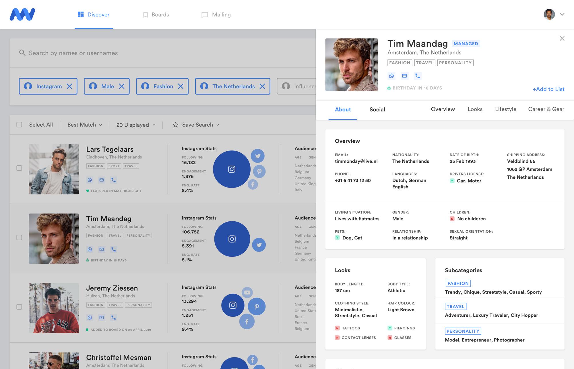 Influencer Database Profiel Overzicht
