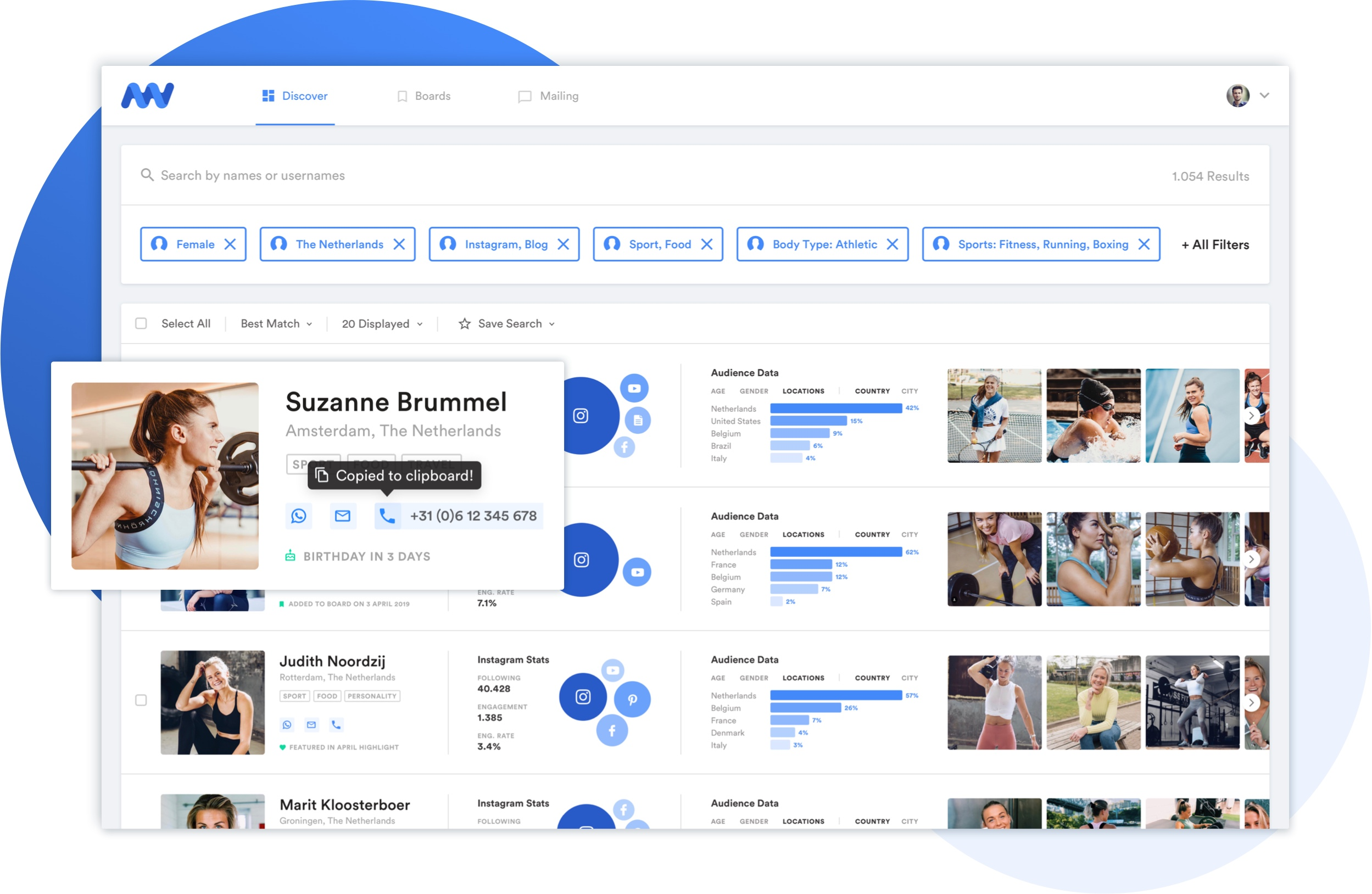 influencer database kom in contact met influencers