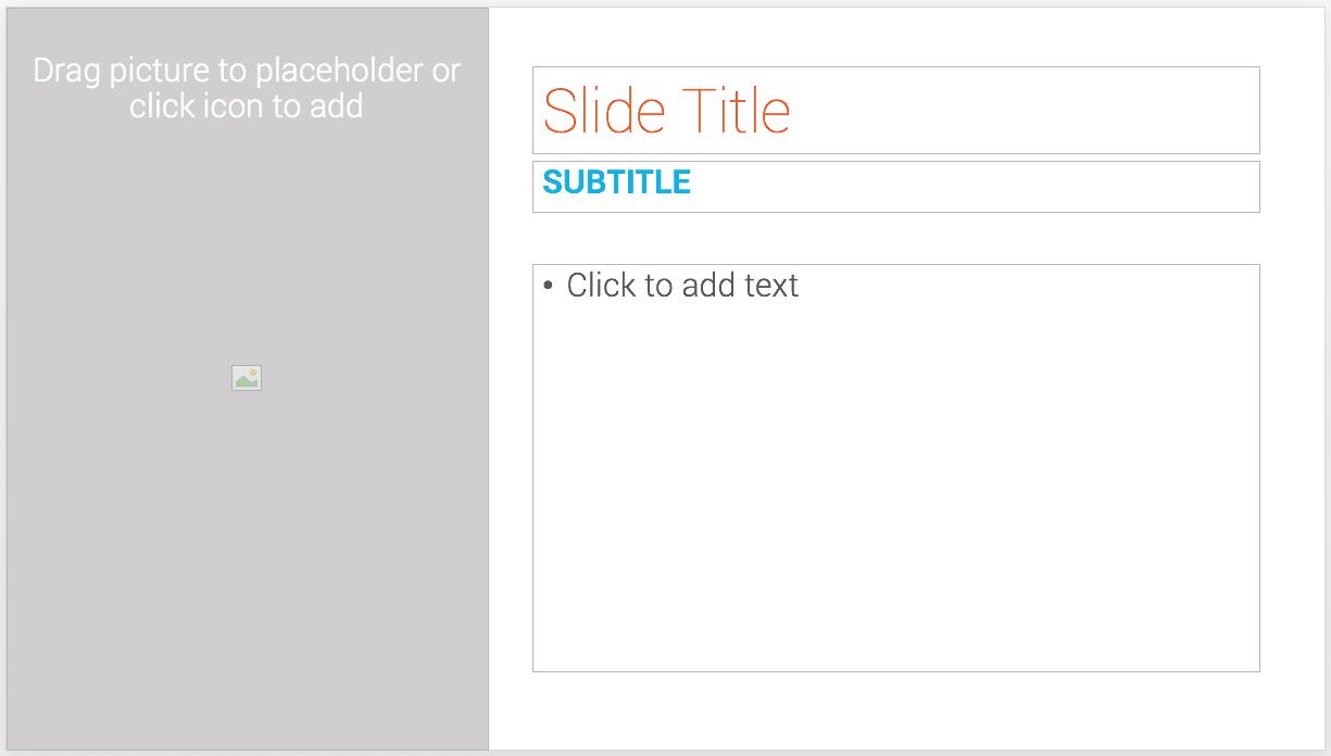 An empty template slide in PowerPoint
