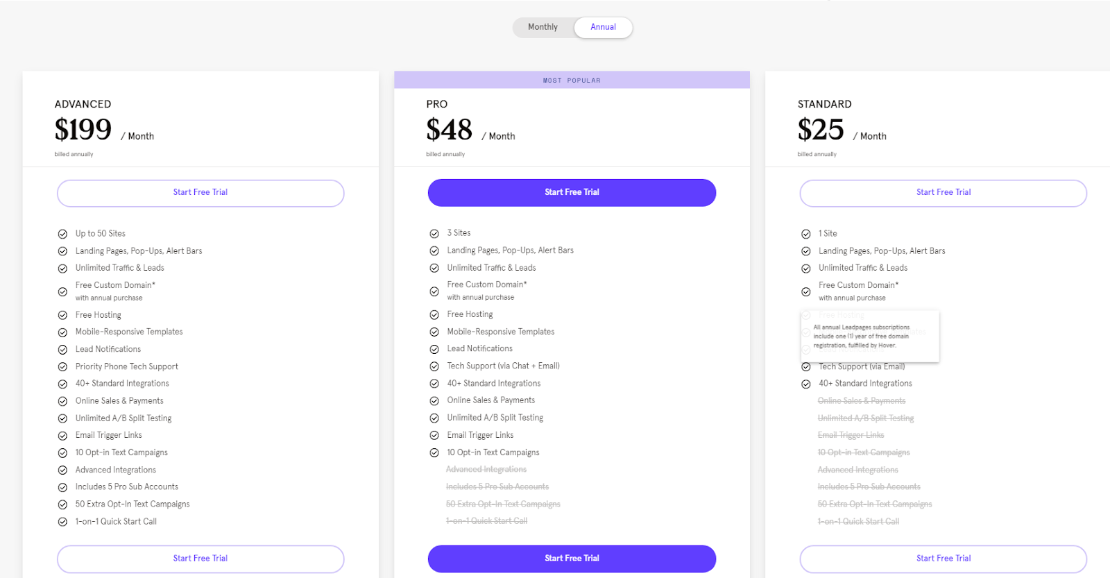 LeadPages Pricing Page