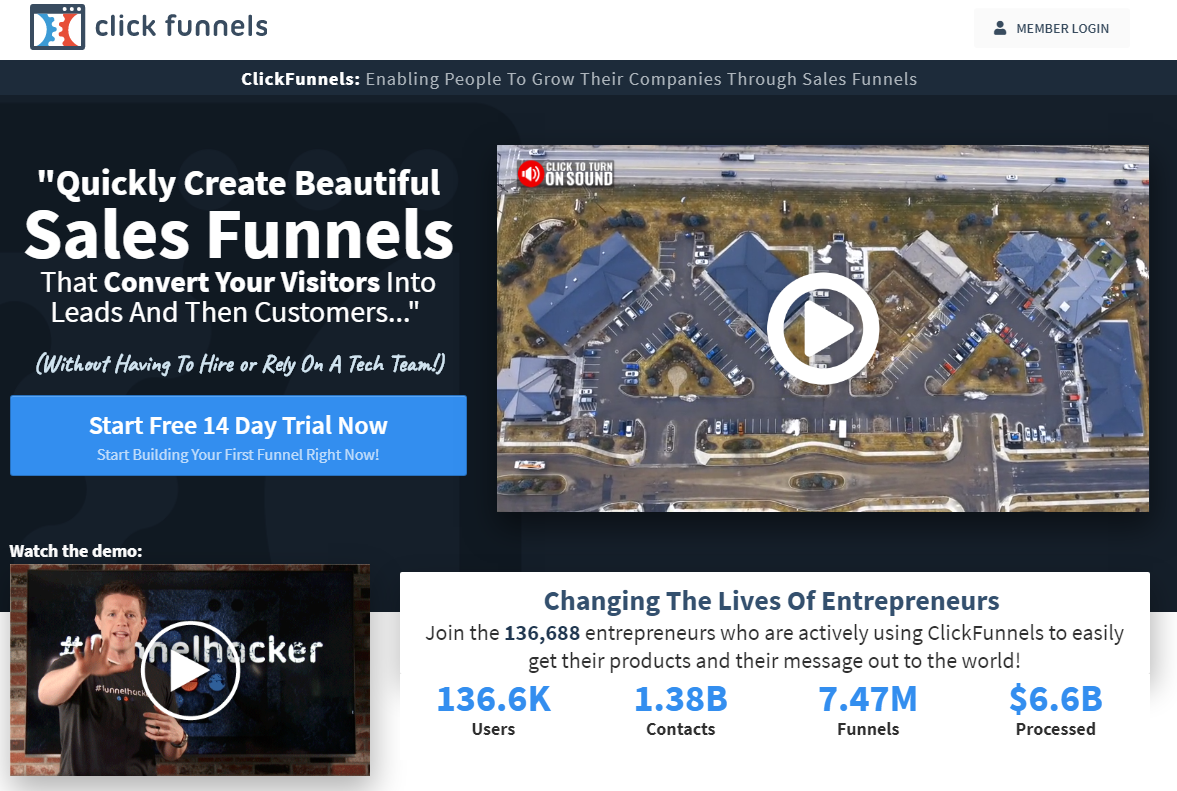 The best landing page builder to create sales funnels: ClickFunnels