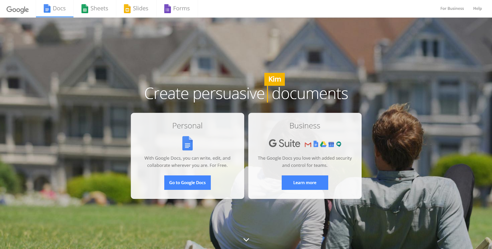 The best landing page builder to validate a product or business idea: Google Docs