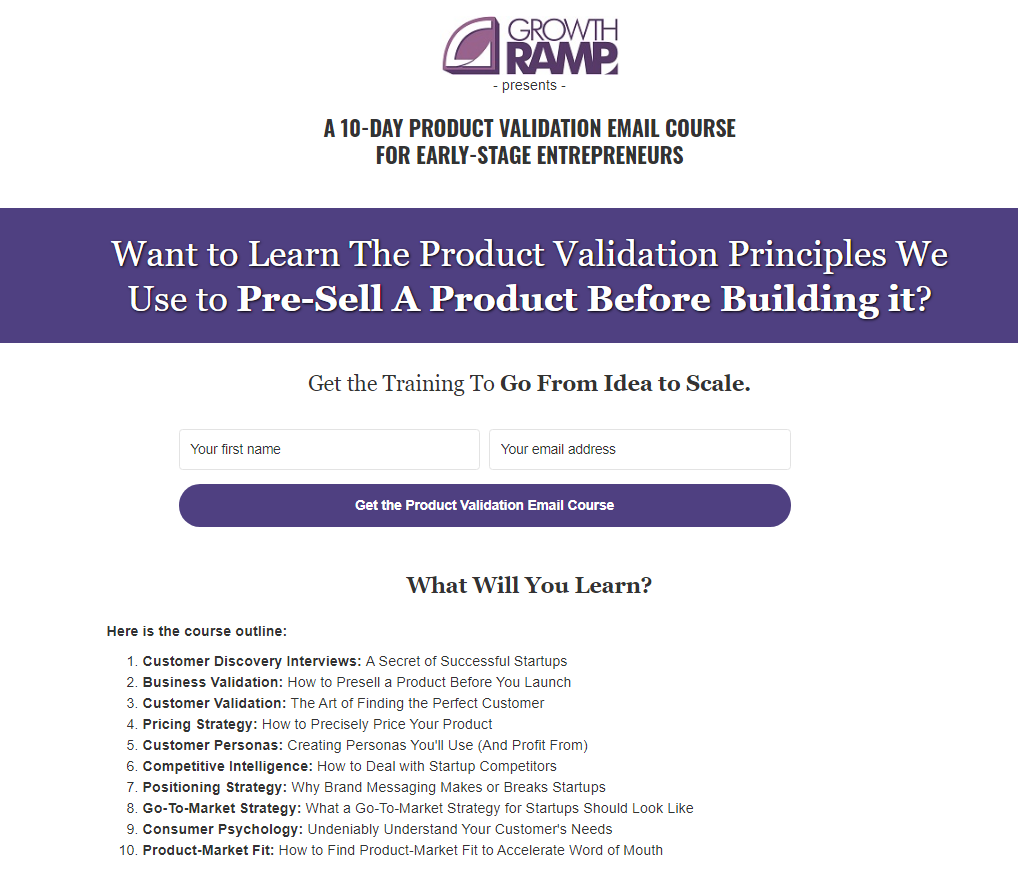 Product Validation Course Landing Page