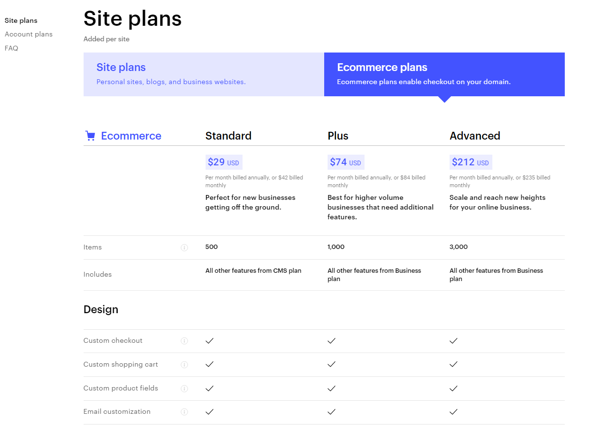 Webflow has three Ecommerce Site plans