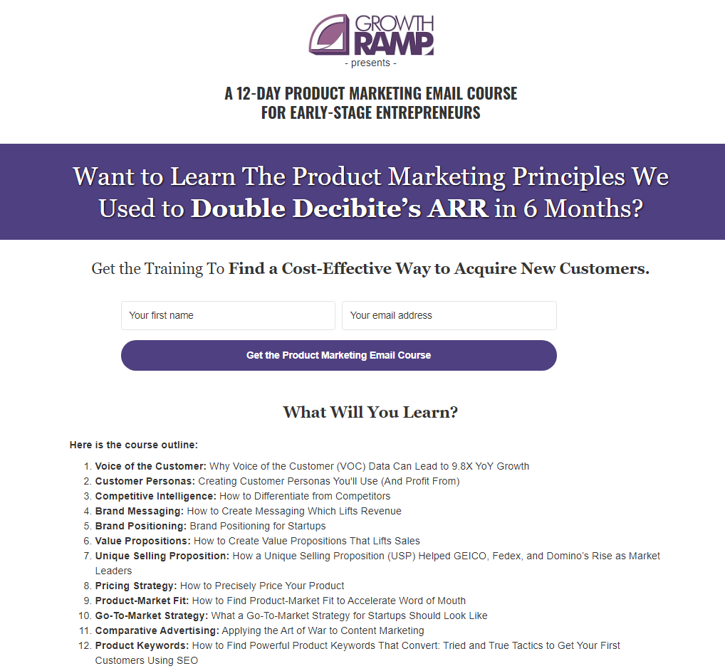 Product Marketing Course Landing Page