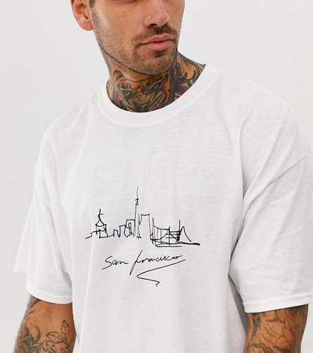 Oversized t-shirt with San Francisco print in white from asos.com