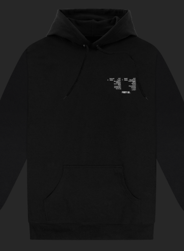 Black hoodie with puff print detail from shop.postmalone.com