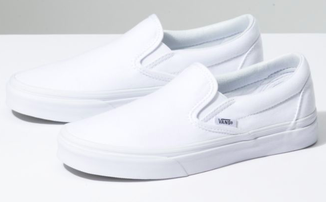White slip-ons from vans.com