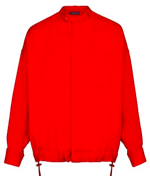 Red silk Valentino shirt with drawstring from louisvuitton.com