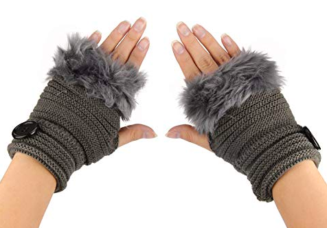 Fingerless grey fur gloves from amazon.com