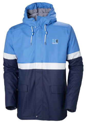 Blue and grey rain jacket from hellyhansen.com